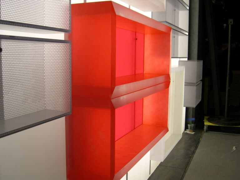 Store Display with Backlit Floating 3Form Chroma for Under Armour Store Remodel by Commercial Builder & General Contractor Structural Enterprises
